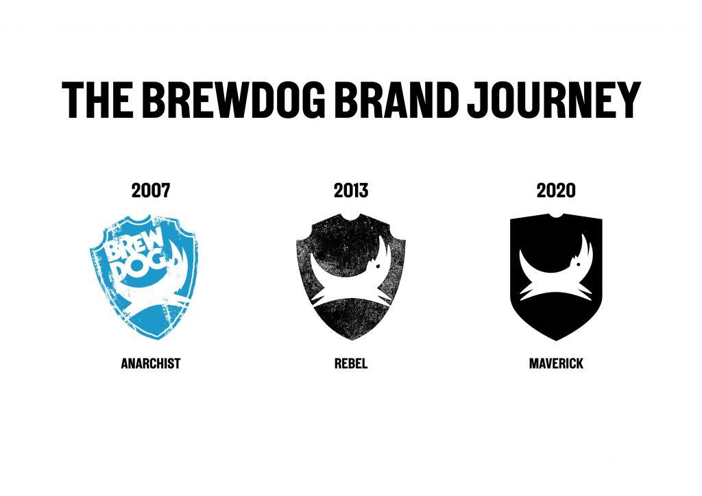 Bilde av BrewDogs logoer opp gjennom årene. Anarchist i 2007, Rebel i 2013 og Maverick i 2020.